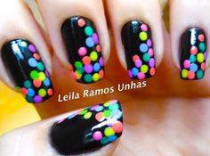 Dotted Black and Colorful Nail art Tutorial Neon Nail Art, Colorful Nail Art, Colorful Nail Designs, Neon Nails, Cute Nail Art, Beautiful Nail Art, Cute Nails, Pretty Nails, My Nails