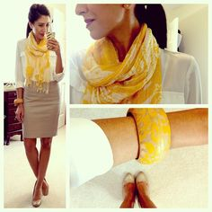 white button-up + pop of color scarf (yellow) with coordinating accessories + nude skirt and pumps