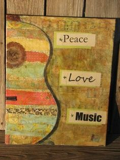 Original Mixed Media Colorful Guitar Peace Love by LeissnerArt