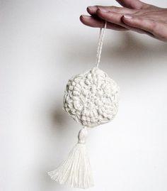 Lavender sachet/ hanging decoration natural linen handmade crochet / ivory color / wedding decor- wedding favor