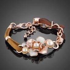 Brown leather flower bracelet  $40.00