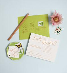Modern Tropical Destination Wedding Invitations by Coral Pheasant