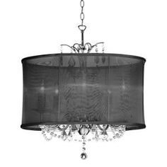 Filament Design, Catherine 5 Light Incandescent Polished Chrome Chandelier with Black Organza Shades, CLI-DN14205153 at The Home Depot - Tablet