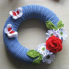 Summer wreath. Crochet wreath.  Unique. Beautiful home decor. Ready to hang £20.00