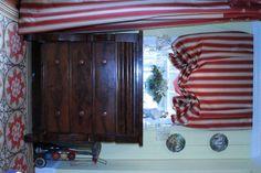 Homemade london shades and panel drapes. #DIY #luxury #curtains #shades #romanshade #londonshade
