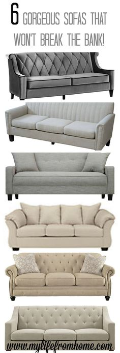 6 Gorgeous Sofas that are affordable yet stylish and chic. Perfect for any space! | budget friendly | couches | farmhouse style | sofas | living spaces | family room | furniture | www.mylifefromhome.com