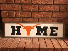 * Texas Longhorns Home * Length- 11 Width- 18 * Painted letters and Longhorn * Framed * White-Washed background * Comes ready to hang with 2 sawtooth hangers on back Texas Longhorns Football, Ut Longhorns, Alabama Football, American Football, College Football, Painted Letters, Painted Signs, Rustic Texas Decor, Texas Signs