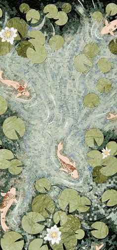 Koi pond mosaic from Mosaique Surface, this mosaic is absolutley gorgeous! Mosaic Crafts, Mosaic Projects, Mosaic Art, Mosaic Tiles, Art Projects, Stone Mosaic, Mosaic Glass, Stained Glass, Glass Art