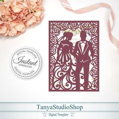Cricut Wedding Invitations, Wedding Invitation Trends, Invitation Design, Paper Cutting Templates, Card Templates, Silhouette Cameo Boxes, Pop Up Cards, Wedding Cards, Etsy