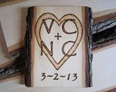 rustic wedding decor - Country wedding gift - custom hand engraved lovers initials wall hanging