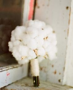 Cute for a country wedding...Cotton Bouquet.