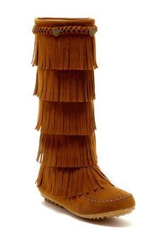 Embellished Tiered Fringe Boots