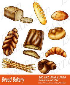 Bread Bakery Clipart Set Loaf Croissant Baguette By I365Art 340