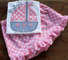 Girls Preppy Sailboat Applique Shirt Set