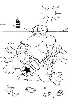 kleurplaat Dribbel op het strand Kids-n-Fun