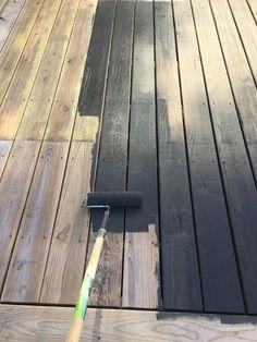 Dark stained deck — Plaster & Disaster - Home & DIY Grey Deck Stain, Deck Stain Colors, Deck Colors, Behr Deck Over Colors, Wood Deck Stain, Best Deck Stain, Dark Deck, White Deck, White Porch