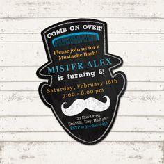 Mustache Bash Birthday Invitation Comb on Over by ValeriePullam