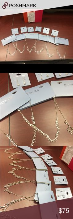Special Occasion Jewlery 6 necklaces. 6 earnings. Never used or worn. Some tarnish spots. But that is possibly from sitting in storage. Purchased for each of my bridesmaids as gifts. Called off the wedding. No use for any of it. Paid $140 for it all. Receipt shown in last picture. Price is negotiable. Claire's Jewelry