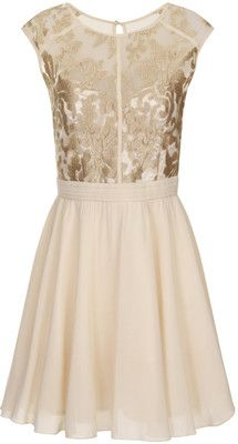Little Mistress Cream and Gold Lace Prom Dress