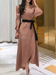 Maxi Dresses Soft Pink Long Sleeves V Neck Split Front Maxi Asymmetrical Long Dress Simple Dress Casual, Classy Dress, Casual Dresses For Women, Cute Dresses, Elegant Dresses, Trendy Dresses, Casual Summer, Simple Dresses, Maxi Dresses