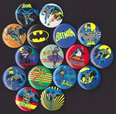 16 Batman Pinback Button Badges by SkullCaveGarageSale on Etsy