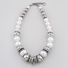 Wild Heart Collection (N1577) - Lustrous white shell pearl and silver bead necklace accentuated with smooth burnished silver rings