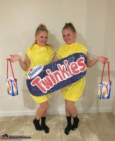 This is my identical twin sister and I. My mom has always referred to us as the twinkies so we thought, why not dress up as twinkies! My mom made the entire costume. She got yellow fleece and made the twinkies with her sewing machine. Duo Halloween Costumes, Twin Halloween, Costume Ideas, Halloween 2018, Halloween Ideas, Halloween Party, Twin Costumes, Famous Twins, Homecoming Spirit Week