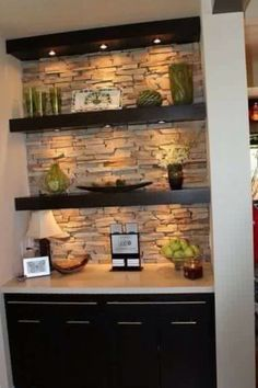 Deco stone wall dark brown beige shelf