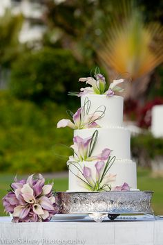 3 tier purplelavender white maui wedding cake at the fairmont kea lani