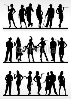Marque place : silhouettes cabaret Plus Speakeasy Party, Gatsby Themed Party, Great Gatsby Party, Roaring 20s Party, 1920s Party, Roaring Twenties, Baile Charleston, Music Silhouette, Harlem Nights