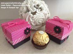 Linda Parker.  Tiny Chocolate Treat Box.  Pop of Pink. Stampin Up.  https://www.youtube.com/watch?v=b-d1JLVIj6Y