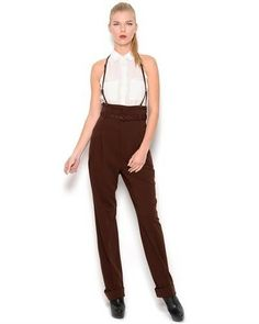 Jean Paul Gaultier Femme Belted Wool Pants with Suspenders- Made in Italy