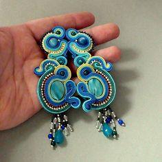 blue lagoon, earrings soutache