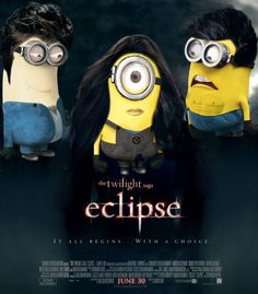Why is this so funny? perhaps the blank expression on the bella-minion's face? or the smutty look on the vampire-minion? or the horrified expression on the jacob-minion? Need I point put the abs on the Jacob-minion? Laughed so hard Minions Love, Minions Despicable Me, Minions 2014, Minion Stuff, Minions Pics, Minions Cartoon, Evil Minions, Fun Fotos, Minion Humour