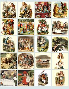 Alice In Wonderland illustrations from 1800s 2inch squares