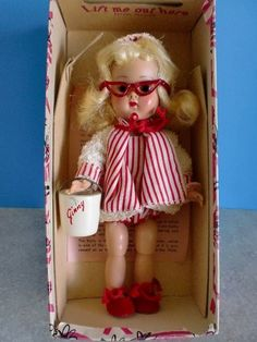"MIB Bent Knee Walker - 8"" GINNY DOLL - In BEACH OUTFIT - With Ginny Pail"
