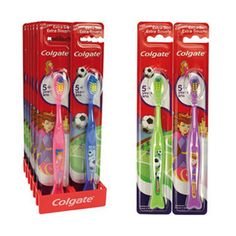 Colgate Toothbrush - Smiles Youth 5+ 2 assorted designs of Princess & Football designed for the healthiest smiles at every age has curved multi-height bristles to reach all their teeth. Dental care wholesale products available now at www.mxwholesale.co.uk
