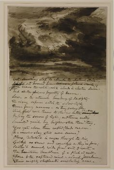 John Constable, 'Cloud Study with Verses from Bloomfield' Seascape Paintings, Landscape Paintings, Painting Clouds, John Constable Paintings, Light Up Words, Moving Clouds, Travel Sketchbook, Art Folder, Old Art