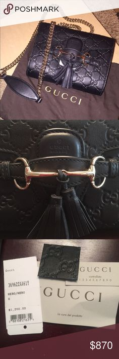GUCCI Emily Guccissima limited edition mini Brand New black GUCCI guccissima leather cross body bag. Comes with authentic dust bag, leather swatch, and all tags. Gucci Bags Shoulder Bags