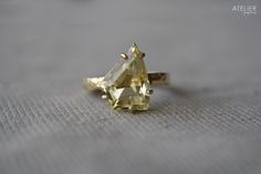 Lemon quartz ring in solid 14kt gold & sterling silver by ATELIER Gaby Marcos