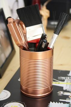 STYLE, SPACE & STUFF: DIY- Copper tins and Scissors a simple way to add copper to your interior decorating designs room design room design House Design Photos, My Home Design, Cool House Designs, Modern House Design, Design Room, Beautiful Interior Design, Modern Interior Design, Copper Spray Paint, Cheap Furniture