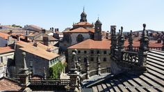 On the rooftop tour of the Cathedral of Santiago de Compostela, in Spain, this is looking eastward from over the apse.