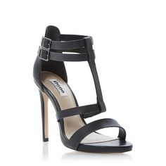 DUNE LADIES HOLLI - Leather T-Bar Double Buckle Strappy Sandal - black | Dune Shoes Online