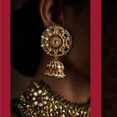 Featuring: Multicoloured choker with Almas, Yakhoot and Zamarud beads. Teenlada - three rows of pearls suspending two side pendants with… Bridal Earrings, Bridal Jewelry, Gold Jewelry, Antique Jewellery, Ear Jewelry, Gold Necklaces, Diamond Earrings, India Jewelry, Temple Jewellery