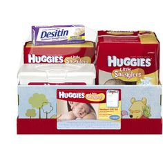 HUGGIES - Little Snugglers Diapers, Natural Care Wipes & Rash Cream Gift Box