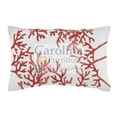 Red Coral Reef Pillow: The Signature Design Cankon pillow's embroidered overlay of a coral reef brings alluring artistry to the surface. Such a serene, sophisticated splash of coastal chic style.