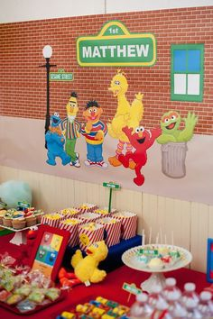 Sesame Street themed 1st birthday party via Kara's Party Ideas KarasPartyIdeas.com Invitation, cake, food, supplies, recipes, and MORE! #sesamestreet #sesamestreetparty (32)