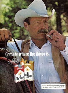 1978 Marlboro Man Cigarette Ad Cowboy w/ Mustache Leather Vest