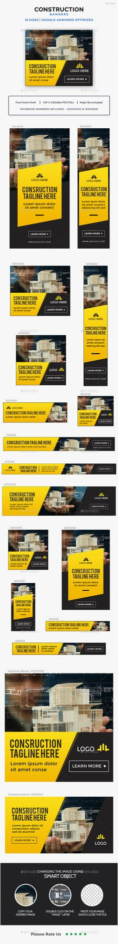 Construction Banners Design Template - Banners & Ads Web Template PSD. Download here: https://graphicriver.net/item/construction-banners/17034796?s_rank=280&ref=yinkira