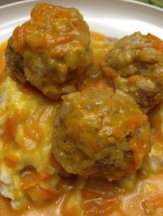 """Porcupine"" Meatballs in Cream Sauce.  These Russian meatballs are called porcupine because the rice in them sometimes sticks out like porcupine quills.  The star was the sauce!  OMG  the sauce was amazing,  My boys raved about it!"